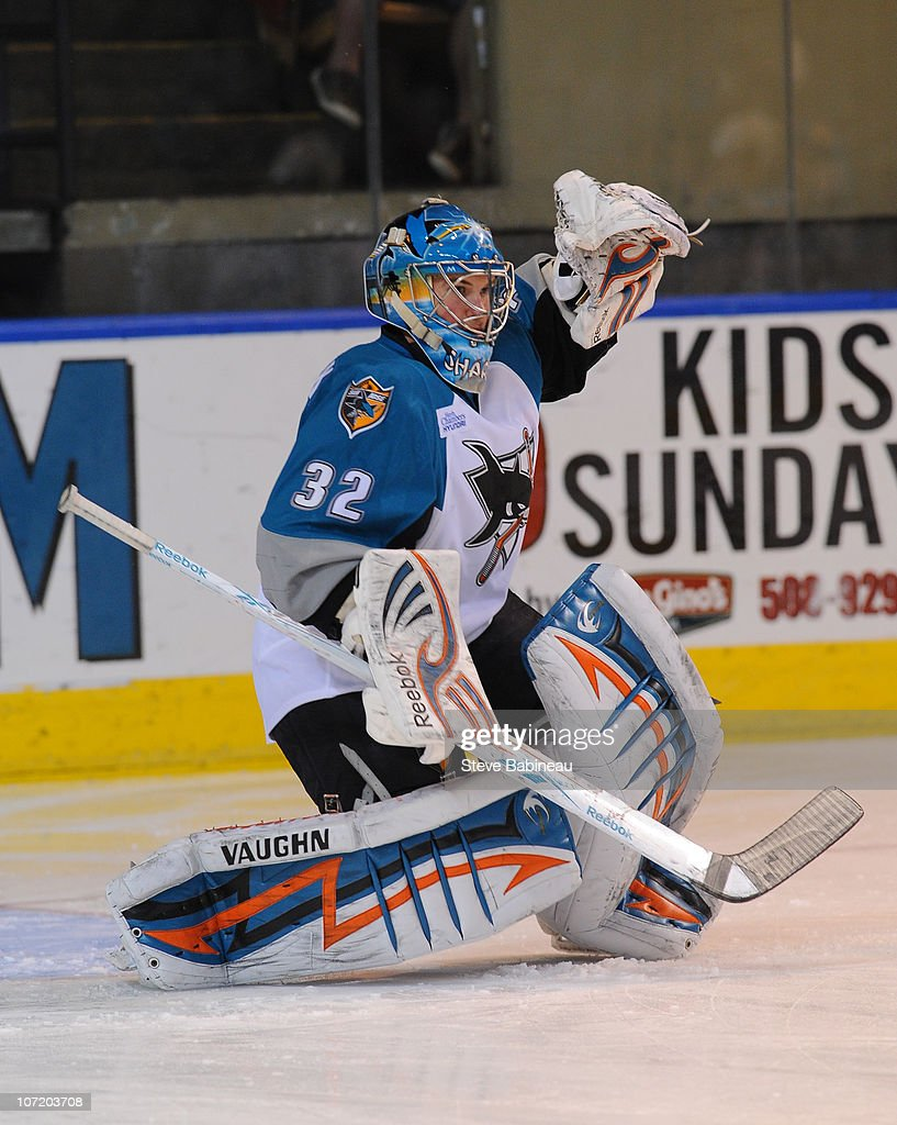 Alex Stalock #32 of the Worcester Sharks makes a save during action against the Charlotte Checkers at the DCU Center on November 27, 2010 in Worcester Massachusetts.