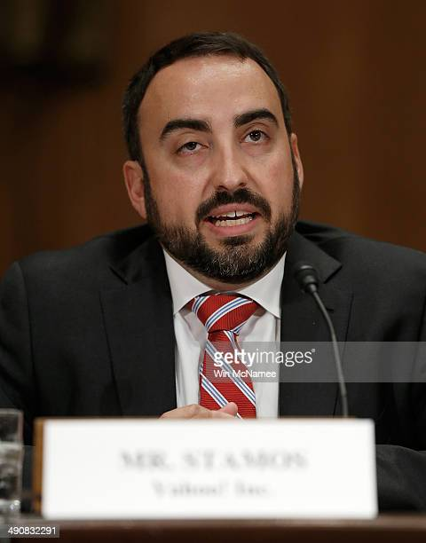 Alex Stamos chief information security officer at Yahoo Inc testifies before the Senate Homeland Security Committee May 15 2014 in Washington DC The...