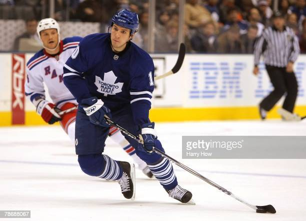 Alex Steen of the Toronto Maple Leafs skates with the puck against the New York Rangers during the game at the Air Canada Centre on December 29 2007...
