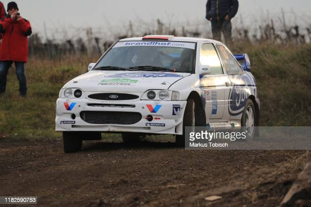 Alex Strobl of Austria and Tina Annemueller of Germany in their Ford Escord WRC during the Waldviertel Rallye at Horn on November 15 2019 in Horn...
