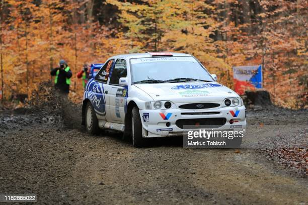 Alex Strobl of Austria and Tina Annemueller of Germany in their Ford Escord WRC during the Waldviertel Rallye at Horn on November 16 2019 in Horn...
