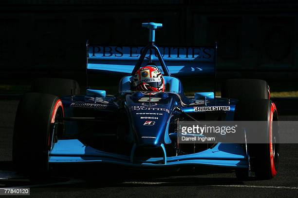 Alex Tagliani drives the Rocketsports Panoz DP01 during practice for the ChampCar World Series Grand Premio Tecate on November 10 2007 at the...