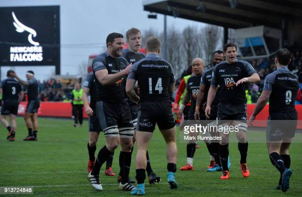 Alex Tait of Newcastle Falcons is congratulated after scoring a try in the second half during the AngloWelsh Cup match between Newcastle Falcons and...