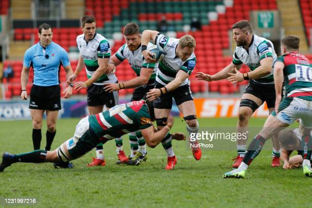 Alex Tait of Newcastle Falcons, playing his 250th game for his club, in action during the Gallagher Premiership match between Leicester Tigers and...