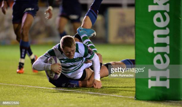 Alex Tait of Newcastle Falcons scores a try in the second half during the European Rugby Challenge Cup match between Newcastle Falcons and Bordeaux...