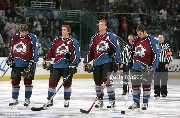 Alex Tanguay Joe Sakic Rob Blake and Dan Hinote of the Colorado Avalanche at Pepsi Center in Denver Colorado
