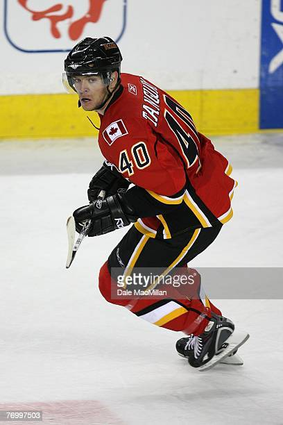 Alex Tanguay of the Calgary Flames skates against the Florida Panthers at the Pengrowth Saddledome on September 16 2007 in Calgary Alberta Canada