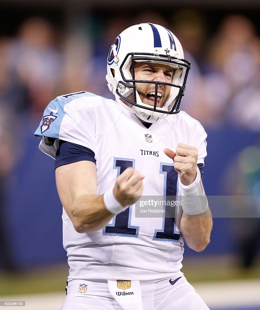 Alex Tanney #11 of the Tennessee Titans celebrates after scoring a touchdown against the Indianapolis Colts at Lucas Oil Stadium on January 3, 2016 in Indianapolis, Indiana.