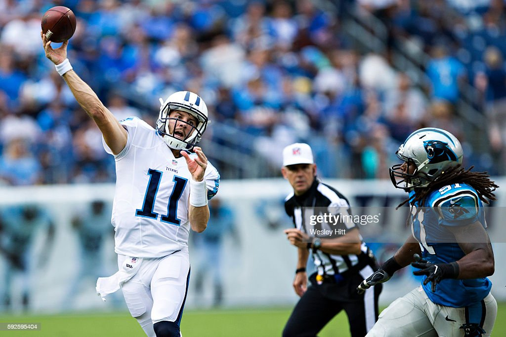 Alex Tanney #11 of the Tennessee Titans throws a pass during a preseason game against the Carolina Panthers at Nissan Stadium on August 20, 2016 in Nashville, Tennessee.