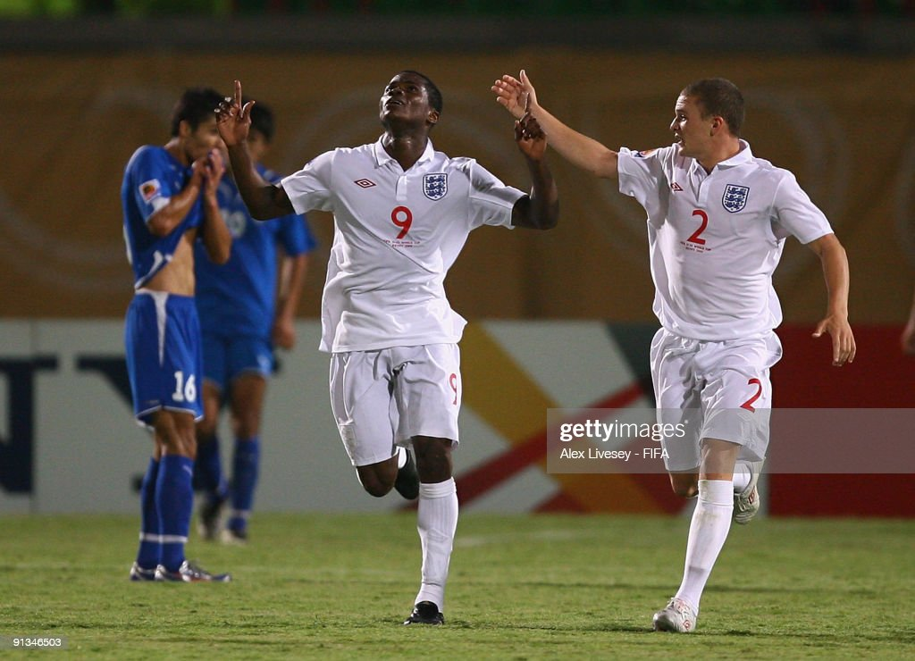 Alex Tchuimeni-Nimely #9 of England celebrates his 1:1 equalising goal with Kieran Trippier during the FIFA U20 World Cup Group D match between Uzbekistan and England at the Mubarak Stadium on October 2, 2009 in Suez, Egypt.