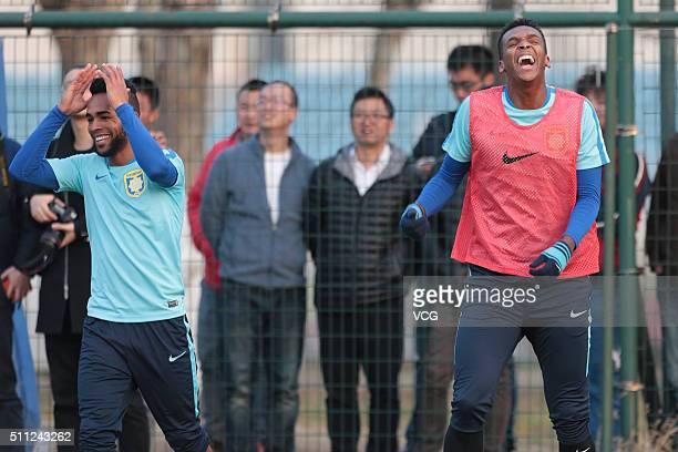 Alex Teixeira and Jo of Jiangsu Suning attend a training session at Nanjing Olympic Sports Center on February 18 2016 in Nanjing Jiangsu Province of...