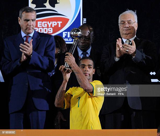 Alex Teixeira of Brazil receives the Adidas Silver Ball award after the FIFA U20 World Final match between Ghana and Brazil at the Cairo...