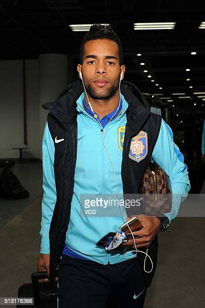 Alex Teixeira of Jiangsu Suning arrives at Olympic Sports Center prior to the AFC Champions League Group E match between Jiangsu Suning and Jeonbuk...