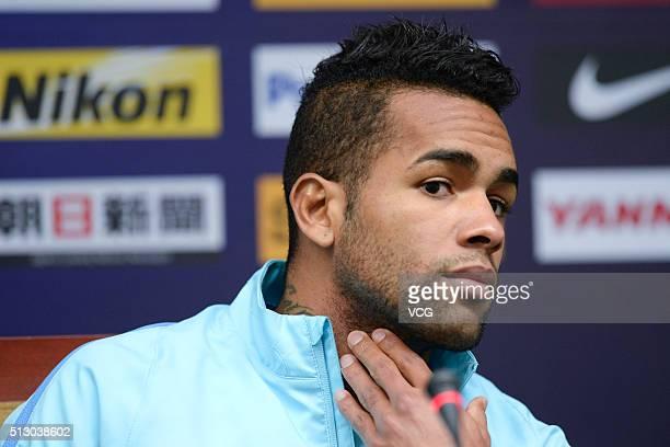 Alex Teixeira of Jiangsu Suning attends a press conference ahead of the AFC Champions League Group E match between Jiangsu Suning and Jeonbuk Hyundai...