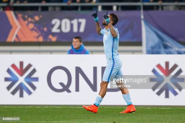 Alex Teixeira of Jiangsu Suning celebrates a goal during the AFC Champions League 2017 Group H match between Jiangsu Suning and Adelaide United at...