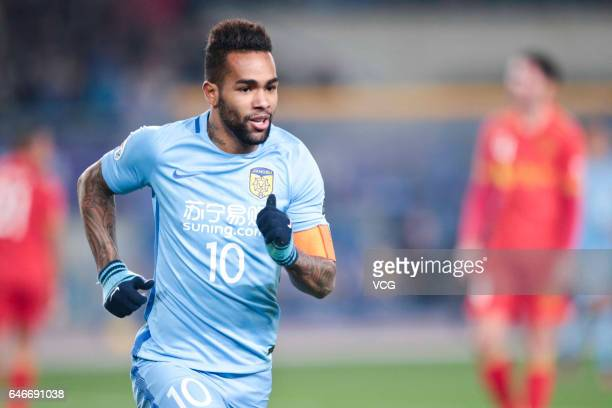 Alex Teixeira of Jiangsu Suning celebrates a goal during the AFC Champions League 2017 Group H match between Jiangsu Suning and Adelaide United at...