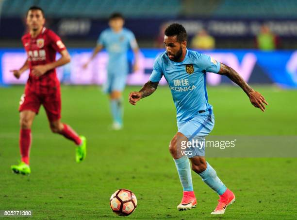 Alex Teixeira of Jiangsu Suning controls the ball during 2017 Chinese Super League 15th round match between Jiangsu Suning and Shanghai SIPG at...