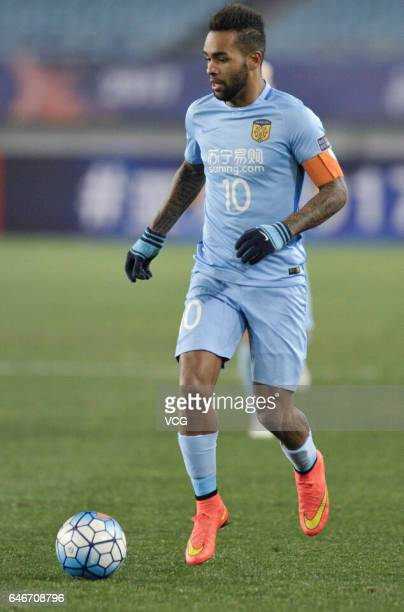 Alex Teixeira of Jiangsu Suning dribbles during the AFC Champions League 2017 Group H match between Jiangsu Suning and Adelaide United at Nanjing...