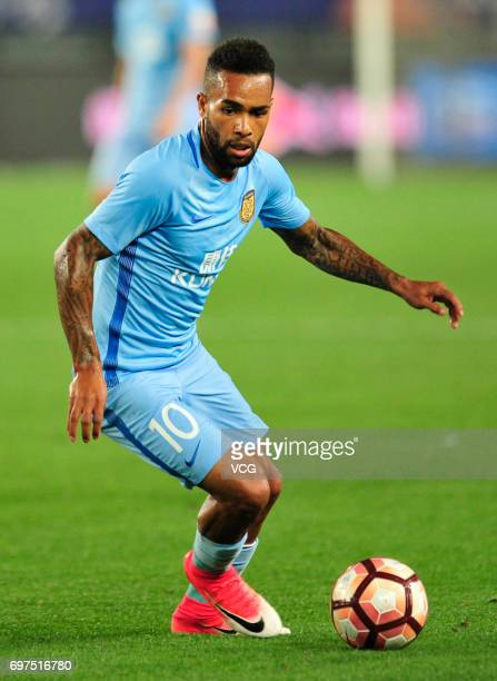 Alex Teixeira of Jiangsu Suning drives the ball during the 13th round match of 2017 Chinese Football Association Super League between Jiangsu Suning...
