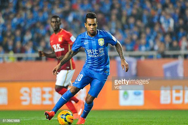 Alex Teixeira of Jiangsu Suning drives the ball during the 2016 CFA Super Cup between Guangzhou Evergrande FC and Jiangsu Suning FC at Chongqing...
