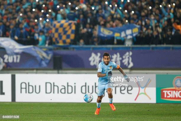 Alex Teixeira of Jiangsu Suning drives the ball during the AFC Champions League 2017 Group H match between Jiangsu Suning and Adelaide United at...