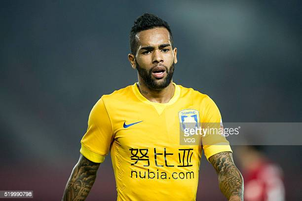 Alex Teixeira of Jiangsu Suning in action during the Chinese Football Association Super League match between Henan Jianye and Jiangsu Suning at...