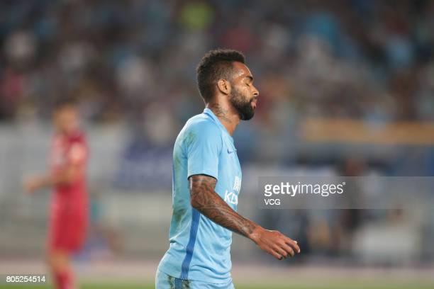 Alex Teixeira of Jiangsu Suning reacts during 2017 Chinese Super League 15th round match between Jiangsu Suning and Shanghai SIPG at Nanjing Olympic...