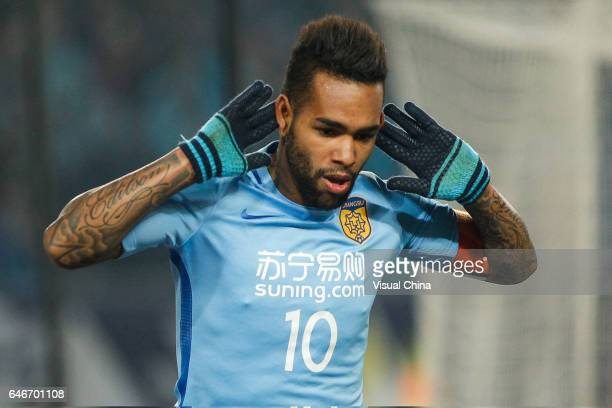 Alex Teixeira of Jiangsu Suning reacts during the AFC Champions League 2017 Group H match between Jiangsu Suning and Adelaide United at Nanjing...