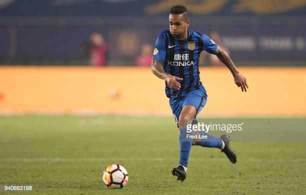 Alex Teixeira Santos of Jiangsu Suning FC in action during the 2018 Chinese Super League match between Jiangsu Suning and Tianjin Teda at Nanjing...