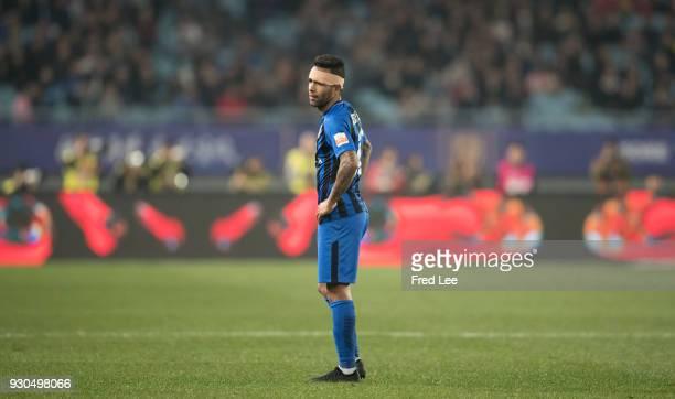 Alex Teixeira Santos of Jiangsu Suning FC reacts during the 2018 Chinese Super League match between Jiangsu Suning and Beijing Guoan at Nanjing...