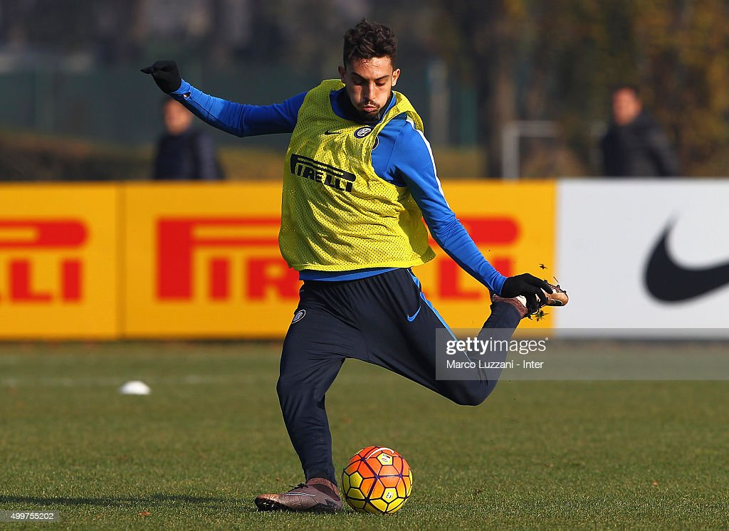 Alex Telles in action during the FC Internazionale training session at the club's training ground on December 3, 2015 in Appiano Gentile Como, Italy.