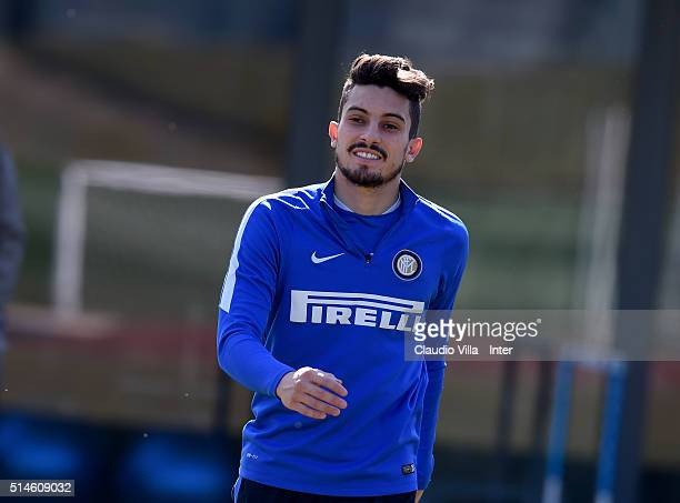 Alex Telles looks on during the FC Internazionale training session at the club's training ground at Appiano Gentile on March 10 2016 in Como Italy