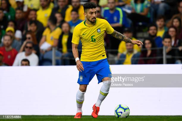 Alex Telles of Brazil in action during the international friendly match between Brazil and Panama at Estadio do Dragao on March 23 2019 in Porto...