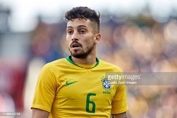 Alex Telles of Brazil looks on during the International Friendly match between Brazil and Panama at Estadio do Dragao on March 23 2019 in Porto...