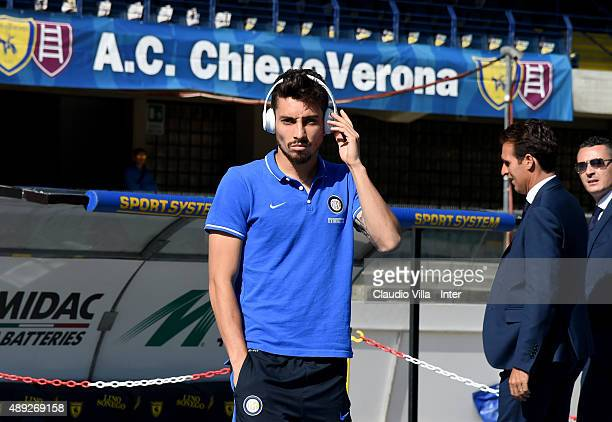 Alex Telles of FC Internazionale attends prior to the Serie A match between AC Chievo Verona and FC Internazionale Milano at Stadio Marc'Antonio...