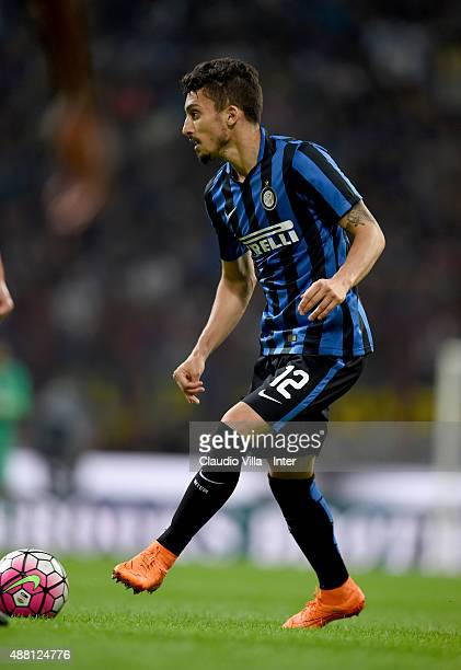 Alex Telles of FC Internazionale in action during the Serie A match between FC Internazionale Milano and AC Milan at Stadio Giuseppe Meazza on...