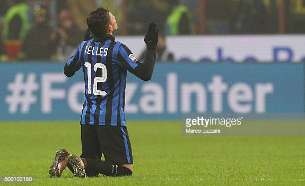 Alex Telles of FC Internazionale Milano celebrates a victory at the end of the Serie A match between FC Internazionale Milano and Genoa CFC at Stadio...