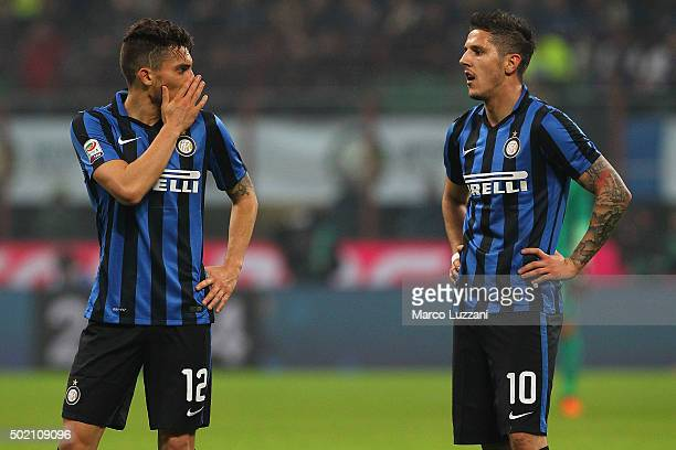 Alex Telles of FC Internazionale Milano speaks to Stevan Jovetic during the Serie A match between FC Internazionale Milano and SS Lazio at Stadio...