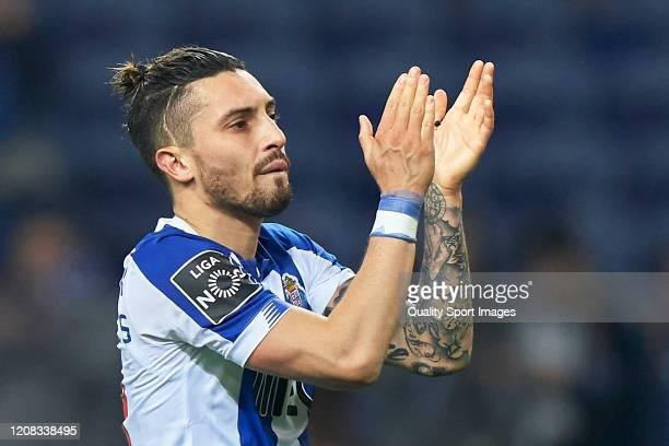 Alex Telles of FC Porto applauds the fans following the Liga Nos match between FC Porto and Portimonense SC at Estadio do Dragao on February 23 2020...