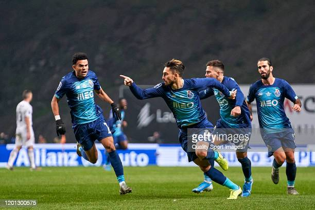 Alex Telles of FC Porto celebrates after scoring his team's first goal during the Taca da Liga Allianz CUP semifinal match between Vitoria SC and FC...