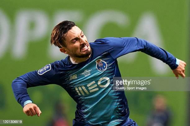 Alex Telles of FC Porto celebrates after scoring his team's first goal during the Taca da Liga Allianz CUP semifinal match between Vitoria SC and FC...