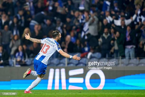 Alex Telles of FC Porto celebrates after scoring his team's first goal during the Liga Nos match between FC Porto and Portimonense SC at Estadio do...