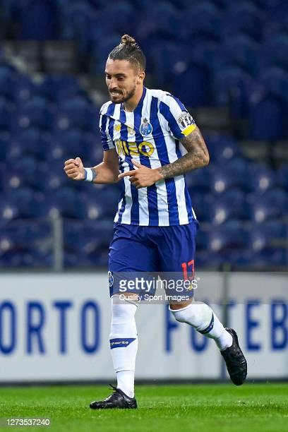 Alex Telles of FC Porto celebrates after scoring his team's second goal during the Liga NOS match between FC Porto and SC Braga at Estadio do Dragao...