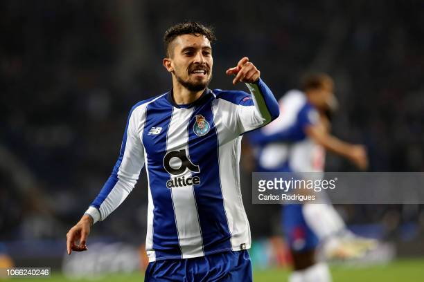 Alex Telles of FC Porto celebrates FC Porto first goal scored by Eder Melitao of FC Porto during the Group D match of the UEFA Champions League...