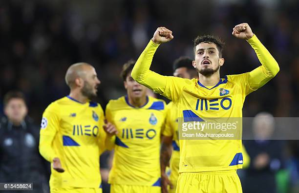 Alex Telles of FC Porto celebrates his team's 21 win in the UEFA Champions League Group G match between Club Brugge KV and FC Porto at Jan Breydel...