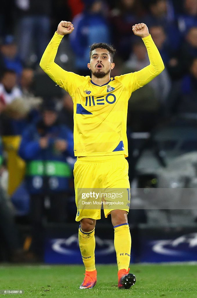 Alex Telles of FC Porto celebrates his team's second goal during the UEFA Champions League Group G match between Club Brugge KV and FC Porto at Jan Breydel Stadium on October 18, 2016 in Bruges, Belgium.