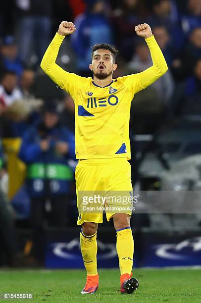 Alex Telles of FC Porto celebrates his team's second goal during the UEFA Champions League Group G match between Club Brugge KV and FC Porto at Jan...
