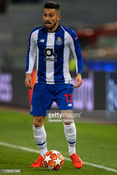 Alex Telles of FC Porto controls the ball during the UEFA Champions League Round of 16 First Leg match between AS Roma and FC Porto at Stadio...