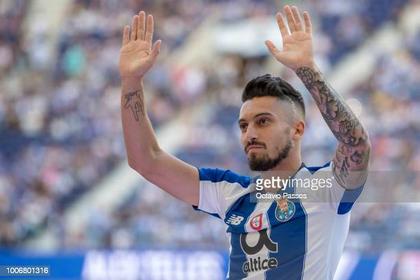 Alex Telles of FC Porto during the team presentation prior to the preseason friendly match between FC Porto and Newcastle at Estádio do Drago on July...