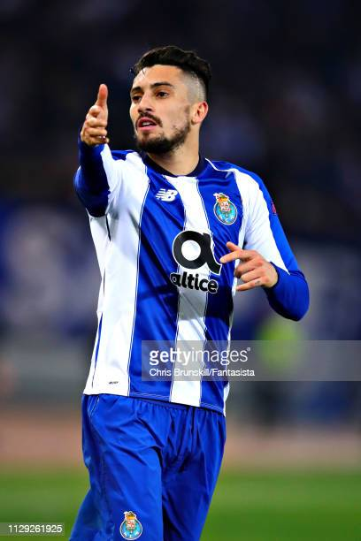 Alex Telles of FC Porto gestures during the UEFA Champions League Round of 16 First Leg match between AS Roma and FC Porto at Stadio Olimpico on...